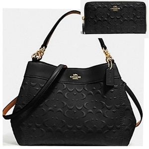 ☆ Coach Set Signature Leather 3in1 Purse + Wallet